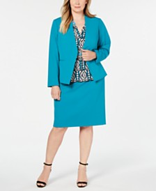 Calvin Klein Plus Size Asymmetrical Jacket, Textured Top & Pencil Skirt