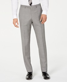 HUGO Hugo Boss Men's Slim-Fit Light Gray Crosshatch Suit Pants