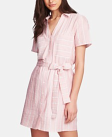 1.STATE Cotton Sunwashed-Striped Dress
