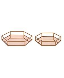 Felicia Nesting Metal Mirrored Decorative Trays, 2 Piece