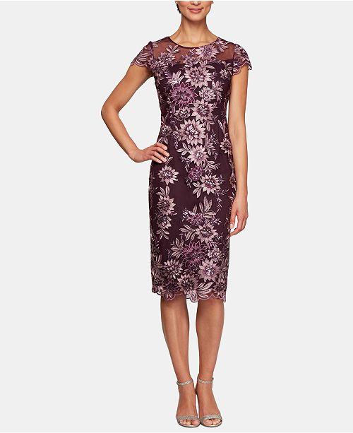 Alex Evenings Embroidered Illusion Midi Dress