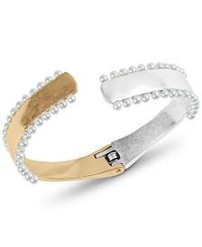 Lucky Brand Two-Tone Imitation Pearl Cuff Bracelet