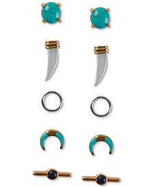 Lucky Brand Tri-Tone 5-Pc. Set Stud Earrings
