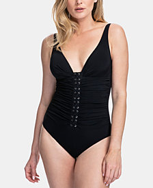 Profile By Gottex D-Cup Lace-Front One Piece Tummy Control Swimsuit