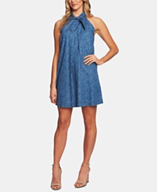 CeCe Cotton Tie-Neck Mini Dress