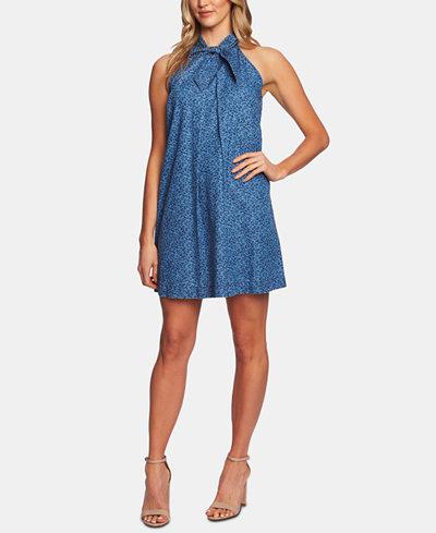 CeCe Cotton Tie-Neck Mini Dress