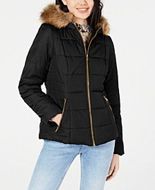 Juniors' Puffer Coat with Faux Fur Trim Hood