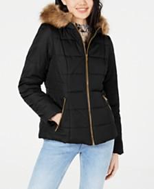 Celebrity Pink Juniors' Puffer Coat with Faux Fur Trim Hood