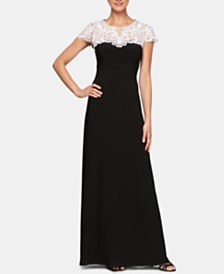 Alex Evenings Embroidered Illusion Gown