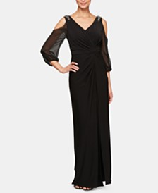 Alex Evenings Petite Knot-Front Cold-Shoulder Gown