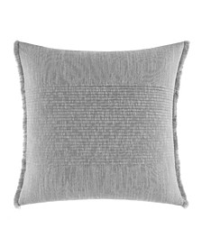 Bronwell Light Grey Fringe Pleated Square Pillow