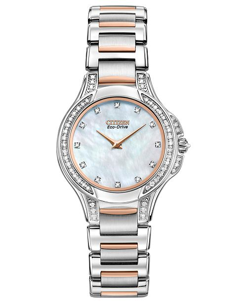 Citizen Women's Eco-Drive Signature Fiore Diamond (1/2 ct. t.w.) Two Tone Stainless Steel Bracelet Watch 30mm EX1166-52D