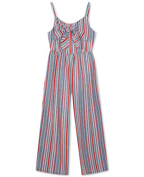 Rare Editions Toddler Girls Striped Jumpsuit
