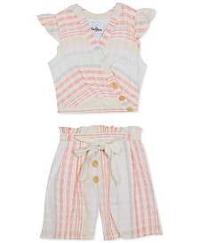 Rare Editions Big Girls 2-Pc. Cross-Front Cotton Top & Shorts Set