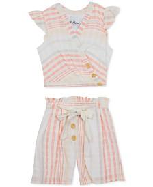 Rare Editions Big Girls 2-Pc. Cross-Front Cotton Top & Shorts Set