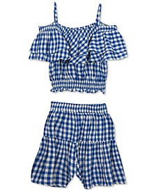 Big Girls 2-Pc. Gingham-Print Top & Shorts Set