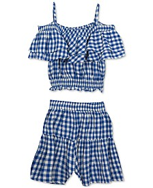 Rare Editions Big Girls 2-Pc. Gingham-Print Top & Shorts Set