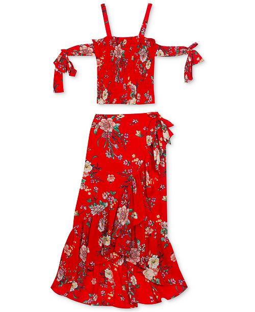Rare Editions Big Girls 2-Pc. Floral-Print Chiffon Top & Skirt Set