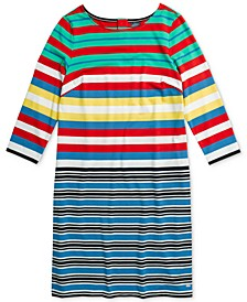 Women's Hudson Multi Striped Shift Dress with Magnetic Closure