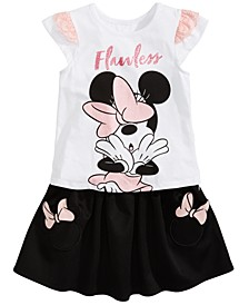 Little Girls 2-Pc. Flawless Minnie Graphic Top & Skirt Set, Created for Macy's