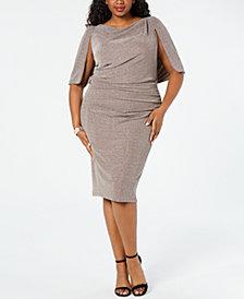 Betsy & Adam Plus Size Capelet Sheath Dress