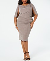 30253f4e736 Betsy   Adam Plus Size Capelet Sheath Dress