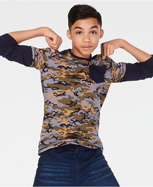 Epic Threads Big Boys Faux-Layer Camo-Print T-Shirt, Created for Macy's