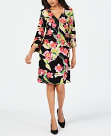 JM Collection Floral-Print Faux-Wrap Dress, Created for Macy's