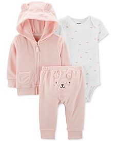 Baby Girls 3-Pc. Hoodie, Bodysuit & Pants Set