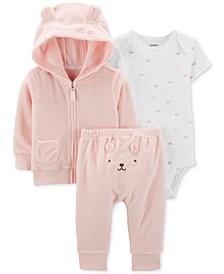 Baby Girls 3-Pc. Hoodie, Bodysuit & Pants Set