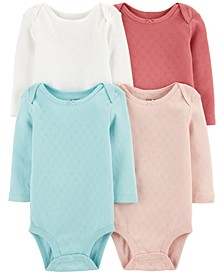 Baby Girls 4-Pk. Cotton Bodysuits