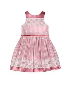 Little Girls Sleeveless Mixed Fabric Dress