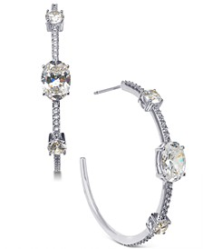 Cubic Zirconia Small Open Medium Hoop Earrings , Created for Macy's