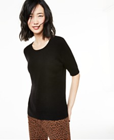 Charter Club Elbow-Sleeve Cashmere Sweater, Created for Macy's