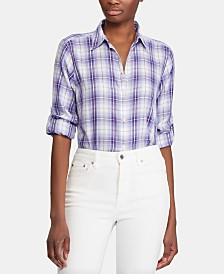 Lauren Ralph Lauren Plaid-Print Roll-Tab Button-Down Cotton Shirt