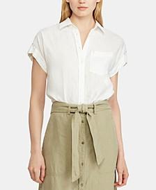 Lace-Inset Dolman-Sleeve Shirt