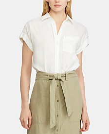 Lauren Ralph Lauren Lace-Inset Dolman-Sleeve Shirt