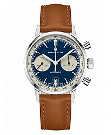 Men's Swiss Automatic Chronograph Intra-Matic Brown Leather Strap Watch 40mm
