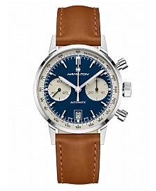 Hamilton Men's Swiss Automatic Chronograph Intra-Matic Brown Leather Strap Watch 40mm