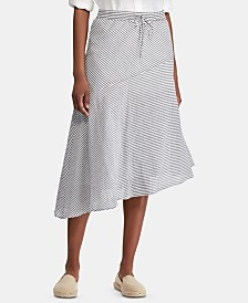 Lauren Ralph Lauren Stripe-Print Asymmetrical Stretch Skirt