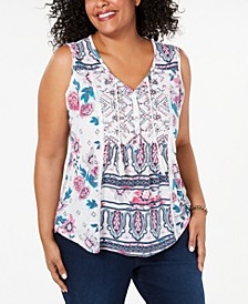 Plus Size Printed Tasseled Top, Created for Macy's