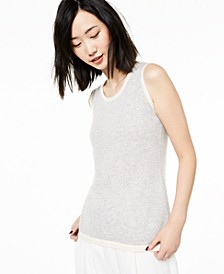 Tipped Sleeveless Cashmere Sweater, Created for Macy's