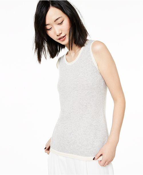 Charter Club Tipped Sleeveless Cashmere Sweater, Created for Macy's