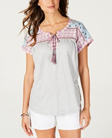 Style & Co Lace-Up Peasant Top, Created for Macy's