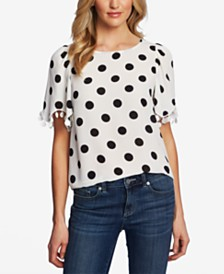 CeCe Dot-Print Embroidered-Trim Top