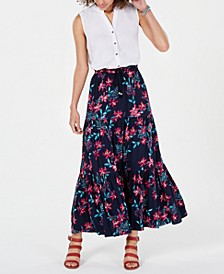 Cotton Floral-Print Tiered Skirt, Created for Macy's
