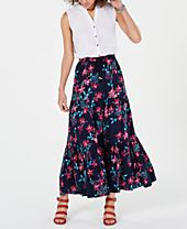 Style & Co Cotton Floral-Print Tiered Skirt, Created for Macy's