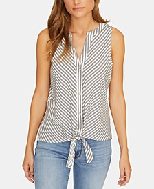 Craft Tie-Front Striped Sleeveless Shirt