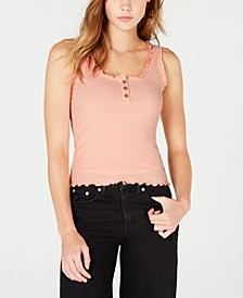 Juniors' Ribbed Henley Tank Top