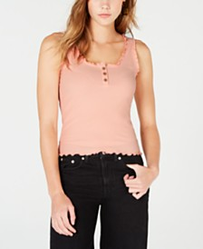Ultra Flirt Juniors' Ribbed Henley Tank Top